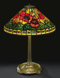 stained glass l bases tiffany studios poppy table lamp shade impressed tiffany studios
