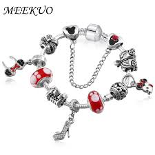 snake chain bracelet charms images Meekuo handmade diy murano glass beads mickey charm bracelet women jpg