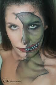 half face halloween makeup elle makeup artist halloween makeup half face big mouth