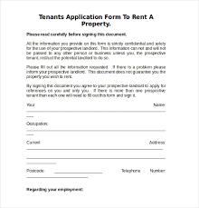 rental reference form rental application form template sample
