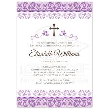 halloween baby shower invitation wording ornate purple damask first holy communion or confirmation invitation