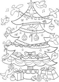 download birds decorating christmas tree coloring page or print