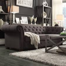 Pottery Barn Chesterfield Bed Dark Grey Tufted Scroll Arm Chesterfield Sofa