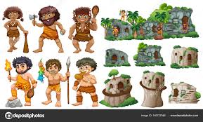 cave people and different styles of houses u2014 stock vector