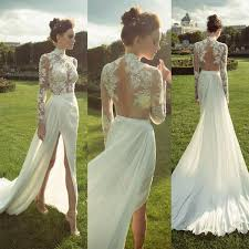 chiffon wedding dress gorgeous high neck sleeve see through lace top side slit