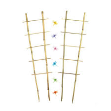 better gro 26 1 2 in bamboo orchid trellis with decorative clips