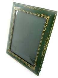 leather picture frames vintage italian green leather gold tooled picture frame black