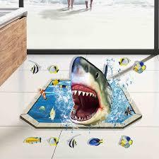 film kartun ikan hiu di bawah laut ikan hiu 3d mandi kartun stiker dinding untuk kamar