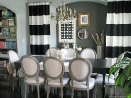 Black White Stripe Curtain Decorations Amazing Home Dining Room Design With Black And White