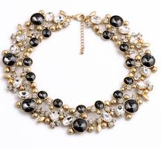 black gem necklace images Trendy gold black gem rhinestone chunky choker necklace wholesale jpg