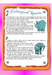 english teaching worksheets endangered species