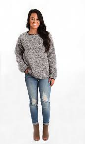 dylan frosty tipped crew neck pullover for women in charcoal
