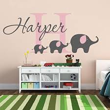 Removable Nursery Wall Decals Custom Made Personalized Name Elephant Removable