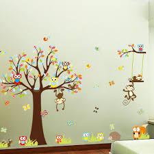 new cartoon cute colorful birds owls tree for nursery kids room