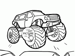 bigfoot monster truck cartoon bigfoot monster truck flies coloring page for kids transportation