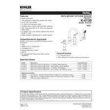 kohler k 6130 3 cp parq polished chrome two handle bridge kitchen