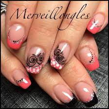 photo ongles gel faux ongles gel uv corail pois arabesques merveillongles pinterest