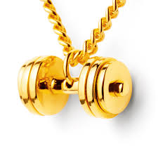 gold plated necklace pendants images Gold dumbbell necklace 24k gold plated fit selection jpg