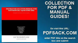 Instructor Solution Manual For Differential Equations And Video