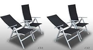Reclining Patio Chairs by Set 4 Garden Chairs Aluminium Multi Position Reclining Lounger