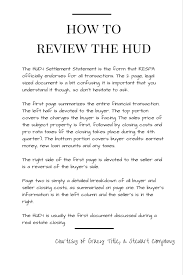 how to review the hud 1 settlement statement homebuying101