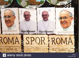 pope souvenirs pope francisco photo souvenirs rome italy stock photo royalty