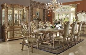 gold formal dining table set