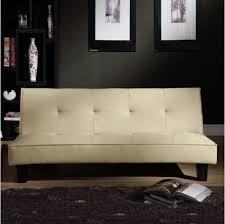 Leather Couch Futon Amazon Com Tribecca Home Bento Beige Faux Leather Modern Mini