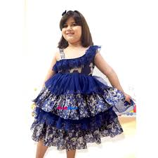 buy designer royal blue kids birthday dress with multi layers pattern