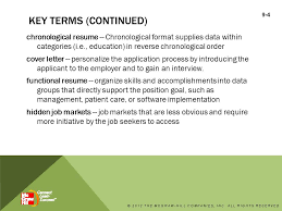 Resume Chronological Order Preparing For Employment In The Medical Office Chapter 9 2012