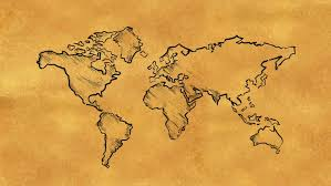 world map sketch on old paper looping animation stock footage