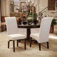 parsons dining room table set of 2 beige fabric tall rolled back parsons dining chairs ebay