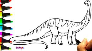 how to draw bruhathkayosaurus dinosaur coloring pages for kids