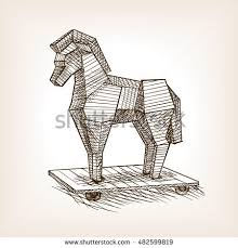 trojan horse sketch style vector illustration stock vector