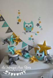 deco chambre turquoise gris décoration chambre enfant bébé hibou étoiles turquoise caraïbe