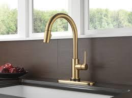 brushed nickel champagne bronze kitchen faucet deck mount single