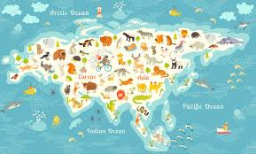 World Map Cartoon by Animals World Map Eurasia Illustrations Creative Market