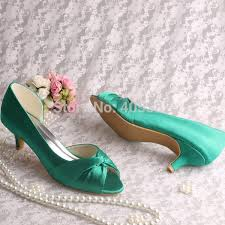 wedding shoes low heel pumps aliexpress buy wedopus custom handmade green satin women low