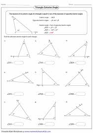 finding the missing angle of a triangle worksheet exquisite stunning worksheet triangle sum and exterior angle