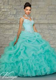 coral quince dresses 89023 quinceanera gowns ruffled organza skirt with embroidered and