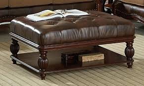 Leather And Wood Coffee Table Wood And Leather Ottoman Image Of Oversized Leather Ottoman Wood
