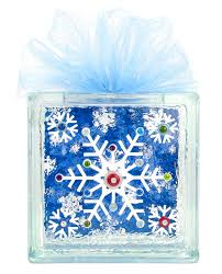 nicole crafts snowflake glass block christmas glassblock