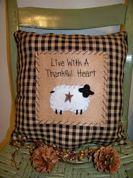 sheep pillow primitive stitchery country decor rustic accent
