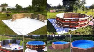 make a beautiful swimming pool with 10 old pallets and 80