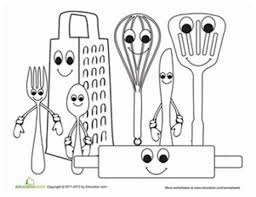coloring pages of kitchen things find the kitchen appliance matching worksheet cooking kitchen tools