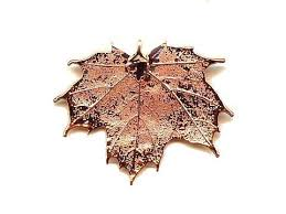 real maple leaf copper ornament handcrafted collectable decoration