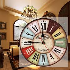 roman style home decor classic 12in large wood wall clock vintage retro style with roman