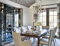 elegant dining room with brick herringbone barrel ceiling