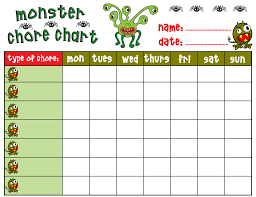 monster chore chart rooftop post printables