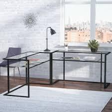 3 piece glass desk 3 piece desk set wayfair